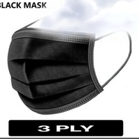 NEW BLACK DISPOSABLE FACE MASK 50 IN SEALED PACK