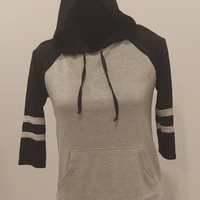Grey and Black Striped Hoodie Shirt