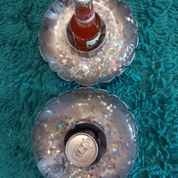 2 Silver Confetti Floatable Drink Holders