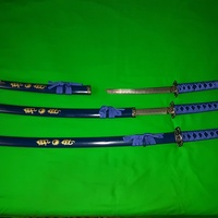 Three 3-piece Samurai Sword Sets. Black, Blue and Red. Until 5.12.2020