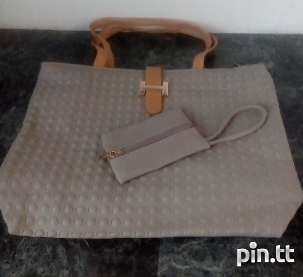 Textured Handle Bags with carrying purse-5