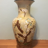 Oriental antique engraved painted Chinese vase