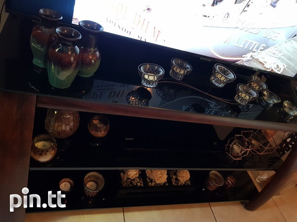 TV stand with shelving and bracket-4