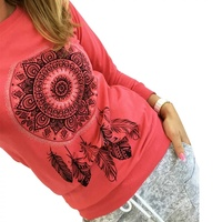 Polyester long sleeve sweatshirt-dreamcatcher print m-xl