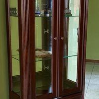 Elegant Imported Asian Dining Room Hutch with Built-In Lighting