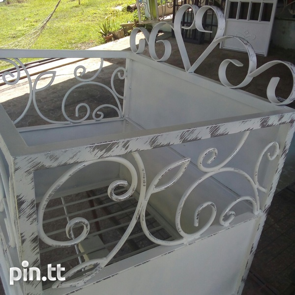 Metal bin with scroll design and sheet pattern zinc frame and sheet-3