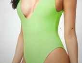Neon lime Green Onepiece Swimsuit Small