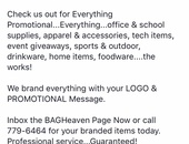 Items branded with your event details