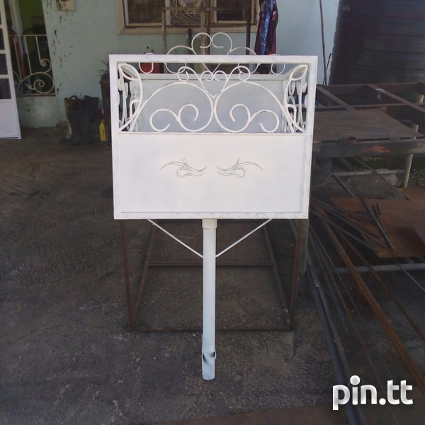 Metal bin with scroll design and sheet pattern zinc frame and sheet-1