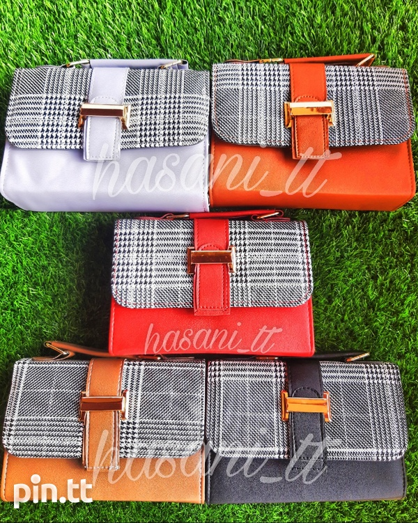 Plaid & Solid Coloured Side Bags-1