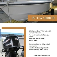 18 foot boat, 125 hp optimax and trailer