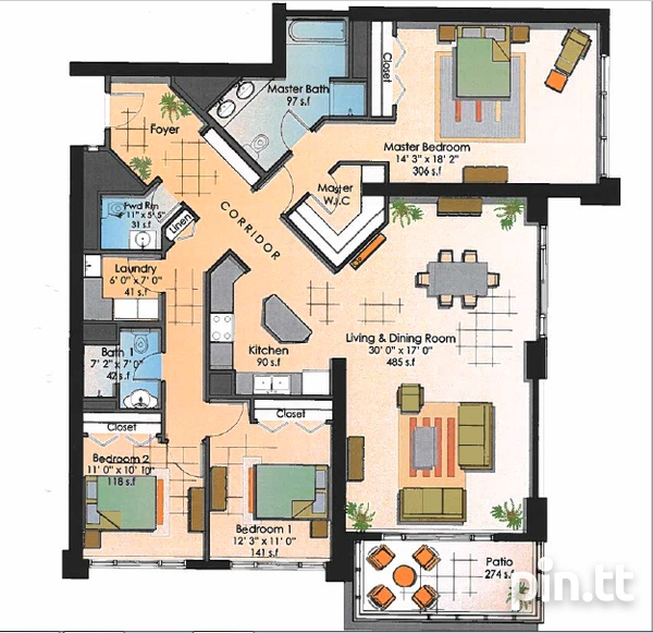 One Woodbrook Place Condo with 3 Bedooms