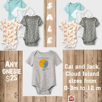 Cat and Jack Short Sleeve Boy Body Suits 6-9M