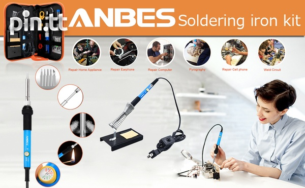 Anbes Soldering Iron Kit Electronics, 60W Adjustable Temperature Weld-4