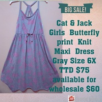 Cat and Jack Girl's Butterfly Print Maxi Dress