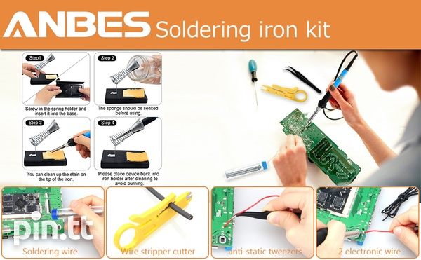 Anbes Soldering Iron Kit Electronics, 60W Adjustable Temperature Weld-11