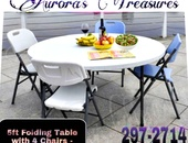 5ft Folding Table and 4 Folding Chairs