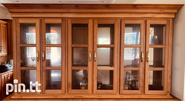 Elegant Teak Exterior Glass Interior Hutch-3