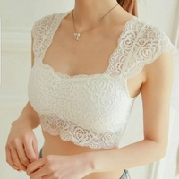 Womens white lace crop top