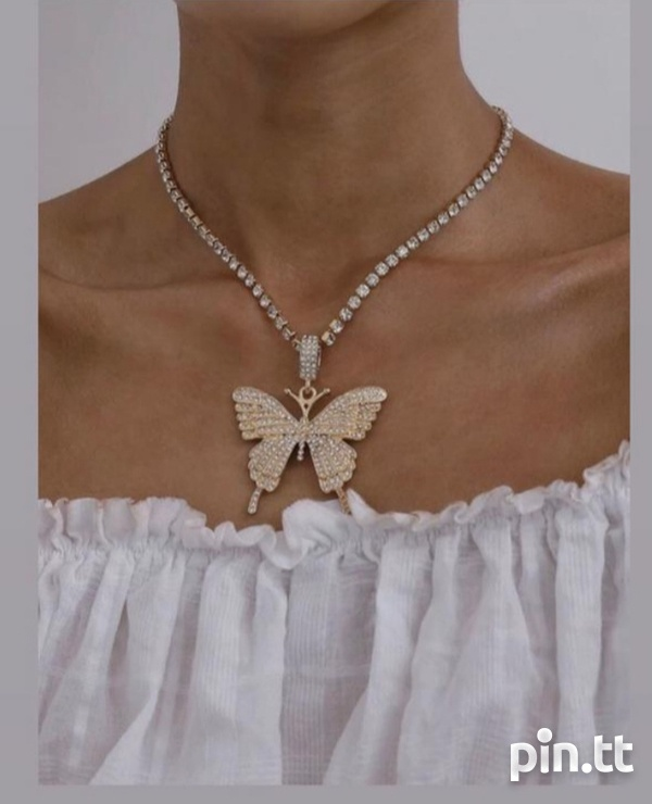 Gold plated chain, butterfly pendant