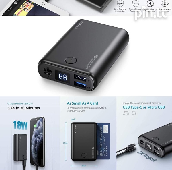 10000mAh Super Mini Power Bank with 18W PD 3.0 and QC 3.0