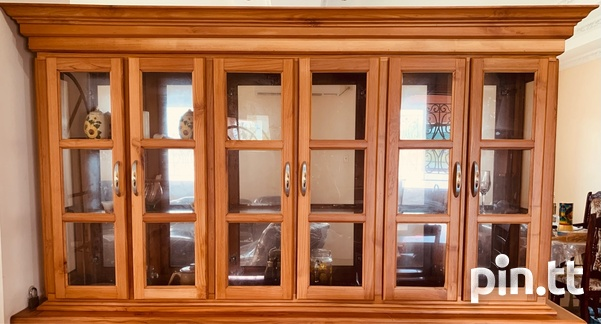 Elegant Teak Exterior Glass Interior Hutch-1
