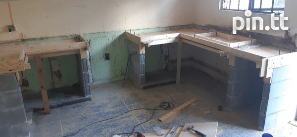 Kitchen counter/cupboards with sink and shelves-4