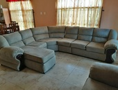 Elephant suede sectional couch set with one seater