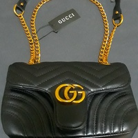 Black Leather Copper Handle Gucci Purse
