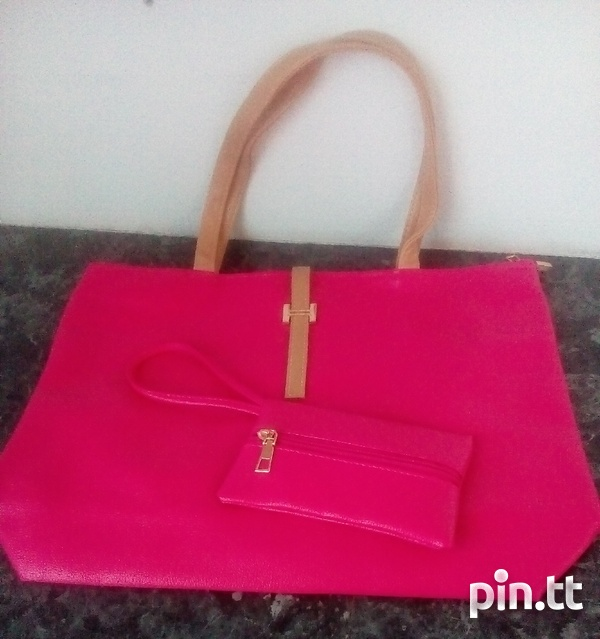Plain Handle Bags with carrying purse-5