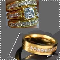 His and hers gold plated fashion rings set