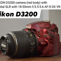 NIKON D3200 red body and lens