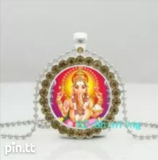 Glass Dome Pendant of Lord Ganesh with Silver Plated Chain-3