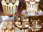 Dessert Cakes with Real Hennessey Bottles