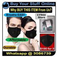 3 Cotton Material BLACK Double Valve Mask with 2 FREE Filters