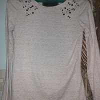 Grey, Brown Long Sleeved Top With Jewels on Shoulders.