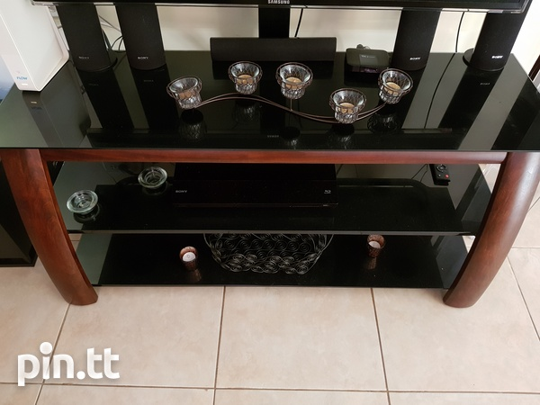 TV stand with shelving and bracket-3