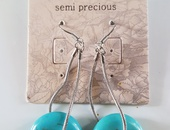 Semi precious genuine Turquoise hanging earings