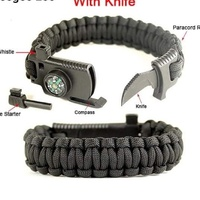 Wrist band with knife & compass