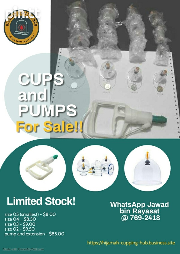 Cupping therapy cups and pump