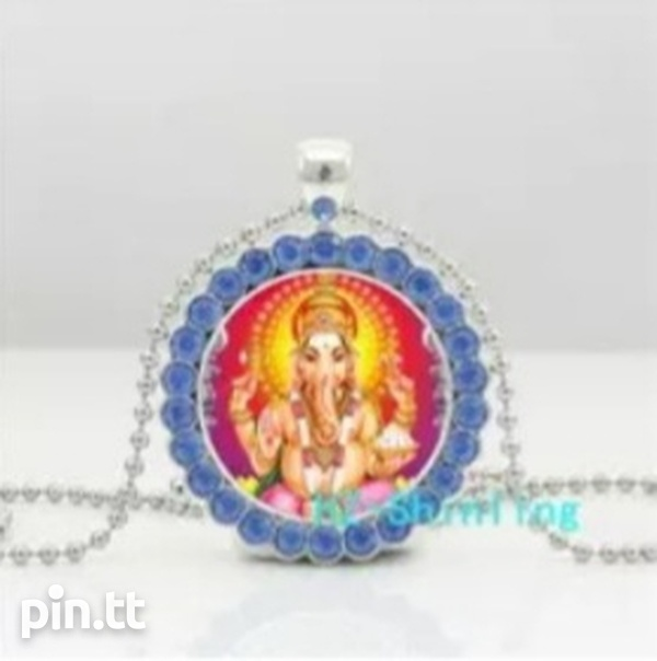 Glass Dome Pendant of Lord Ganesh with Silver Plated Chain-5