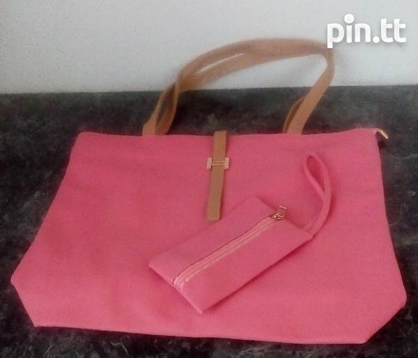 Plain Handle Bags with carrying purse-1