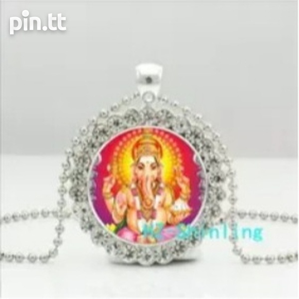 Glass Dome Pendant of Lord Ganesh with Silver Plated Chain-4