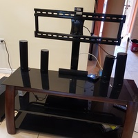 TV stand with shelving and bracket