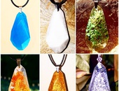 Handcrafted crystal shaped resin pendants