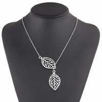 Fashionable Silver Leaf Necklace and Earrings
