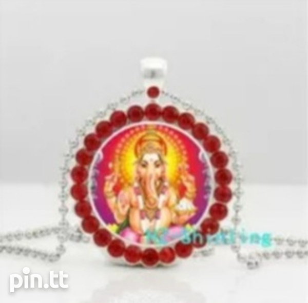 Glass Dome Pendant of Lord Ganesh with Silver Plated Chain-2