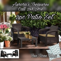 3pc Patio Furniture Set with Seat Cushions and Throw Pillows