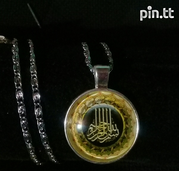 Silver plated necklace with glass dome pendant-2