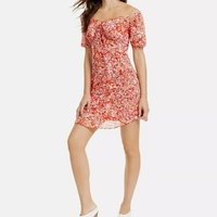Red floral fit & flair dress
